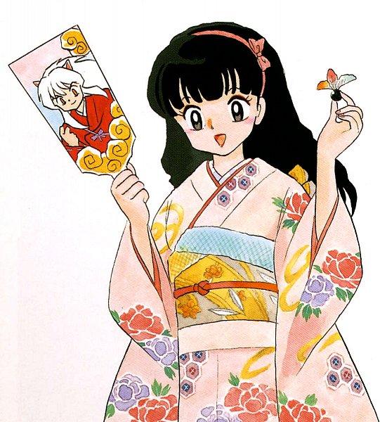 Tags: Anime, Takahashi Rumiko, InuYasha, Higurashi Kagome, InuYasha (Character), Hanetsuki, Paddle, Scan, Official Art