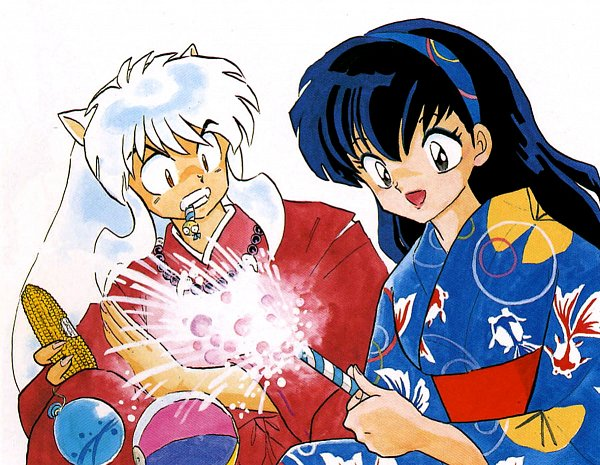 Tags: Anime, Takahashi Rumiko, InuYasha, Higurashi Kagome, InuYasha (Character), Corn, Water Yoyo, Sparklers, Official Art, Scan
