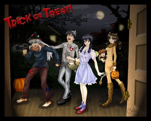 Tags: Anime, The Wizard of Oz, InuYasha, InuYasha (Character), Higurashi Kagome, Shippo, Miroku, Sango, Kirara, Text: Trick Or Treat, Fanart