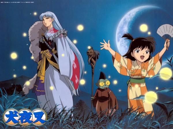 Tags: Anime, InuYasha, Rin (InuYasha), Sesshoumaru, Jaken, Nintoujou, Wallpaper, Artist Request, Official Art