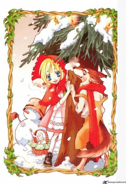 Tags: Anime, Ishiyama Keiko, Grimms Manga, Red Riding Hood, Red Riding Hood (Character), Big Bad Wolf, Mobile Wallpaper