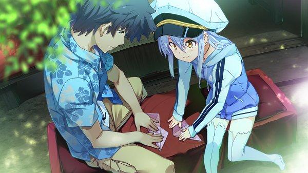 Tags: Anime, Island (VN), Sanzenkai Setsuna, Ohara Rinne, Origami, Hawaiian Shirt, CG Art