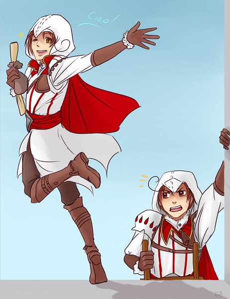 Tags: Anime, Axis Powers: Hetalia, South Italy, North Italy, Assassin's Creed (Cosplay), Italian Text, Ladder, Artist Request, Italy Brothers