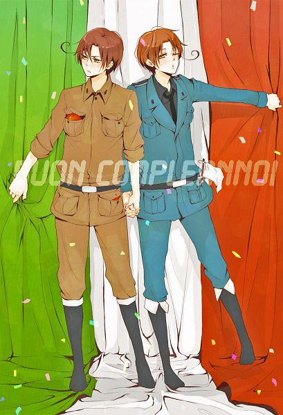 Tags: Anime, Hachiro, Axis Powers: Hetalia, South Italy, North Italy, Flag Background, White Flag, Italian Text, Fanart, Mobile Wallpaper, Pixiv, Fanart From Pixiv, Italy Brothers