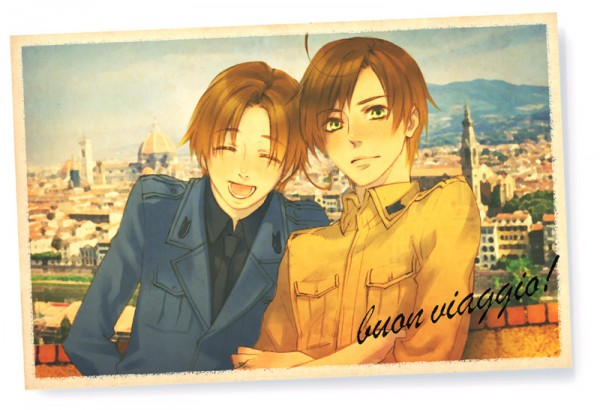 Tags: Anime, Pixiv Id 371026, Axis Powers: Hetalia, South Italy, North Italy, Italian Text, Fanart, Pixiv, Mediterranean Countries, Italy Brothers