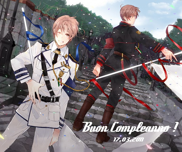 Tags: Anime, Mugomugo, Axis Powers: Hetalia, South Italy, North Italy, Pixiv, Fanart, Italy Brothers, Mediterranean Countries, Axis Power Countries