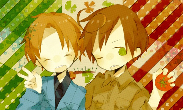 Tags: Anime, Kuuya (pixivid194651), Axis Powers: Hetalia, North Italy, South Italy, Flag Background, Pixiv, Fanart, Mediterranean Countries, Axis Power Countries, Italy Brothers