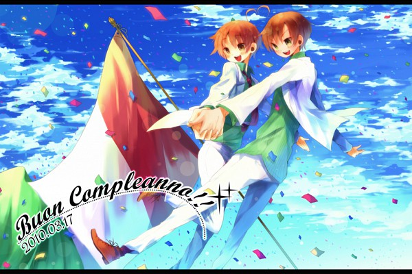 Tags: Anime, Axis Powers: Hetalia, North Italy, South Italy, Italian Text, Italy Brothers, Mediterranean Countries, Axis Power Countries