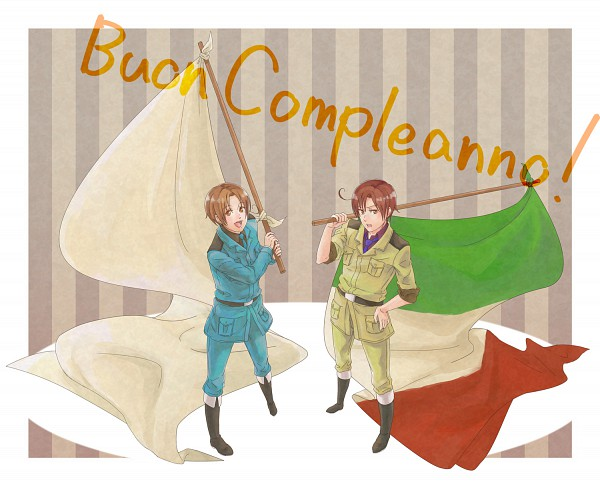 Tags: Anime, Axis Powers: Hetalia, South Italy, North Italy, Italian Text, White Flag, Italy Brothers, Mediterranean Countries, Axis Power Countries