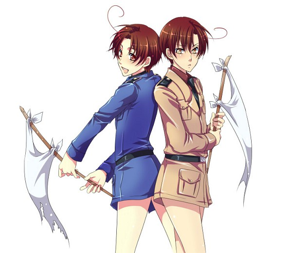 Tags: Anime, Rycchin, Axis Powers: Hetalia, South Italy, North Italy, White Flag, Axis Power Countries, Italy Brothers, Mediterranean Countries