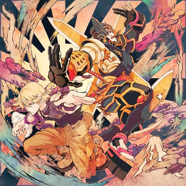 Tags: Anime, Ichizen, TIGER & BUNNY, Origami Cyclone, Ivan Karelin, Rising Sun Motif, Mount Fuji, Sukajan, Pixiv, Fanart
