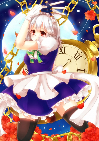Tags: Anime, Pixiv Id 4507006, Touhou, Izayoi Sakuya, PNG Conversion, Fanart, Sakuya Izayoi