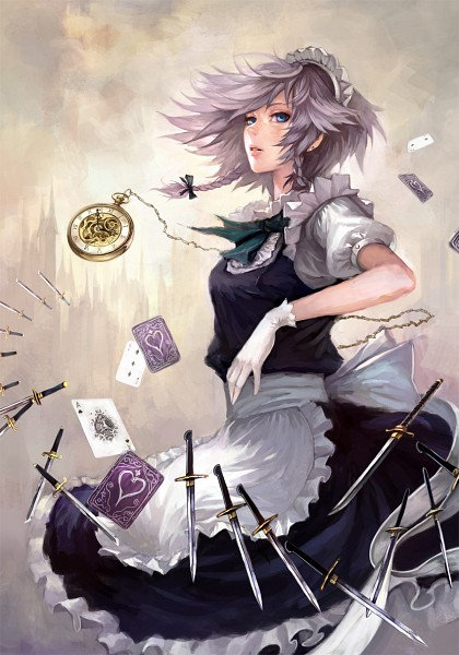 Tags: Anime, Fenrir (Buzhidaoshishuei), Touhou, Izayoi Sakuya, Mobile Wallpaper, Fanart, Fanart From Pixiv, Pixiv, Sakuya Izayoi