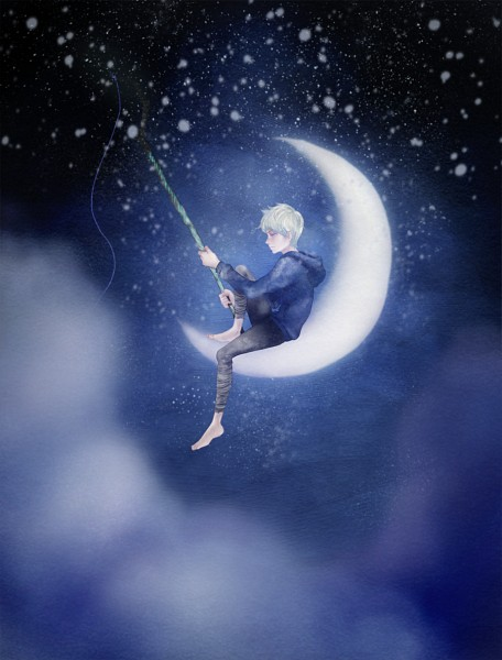 Tags: Anime, Alsh, Rise of the Guardians, Jack Frost, Fishing, Blue Hoodie, Pixiv, Dreamworks, Fanart, Fanart From Pixiv