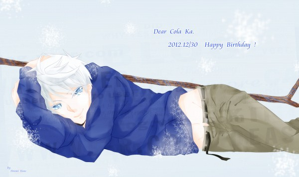 Tags: Anime, Hitomi Hane, Rise of the Guardians, Jack Frost, Blue Hoodie, Fanart, Fanart From Pixiv, Pixiv, Wallpaper
