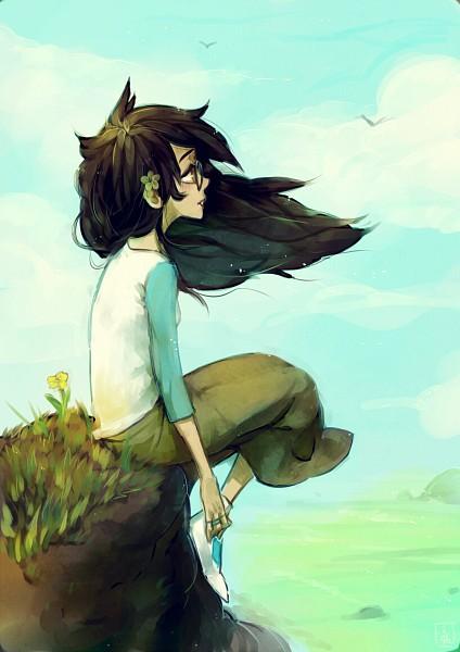 Tags: Anime, Jotaku, Homestuck, Jade Harley, Cliff, Sitting On Grass, Peaceful, Fanart, Mobile Wallpaper, PNG Conversion, Tumblr