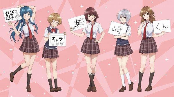 Tags: Anime, Yano Akane, project No.9, Jaku Chara Tomozaki-kun, Natsubayashi Hanabi, Nanami Minami (Jaku Chara Tomozaki-kun), Izumi Yuzu (Jaku Chara Tomozaki-kun), Hinami Aoi, Kikuchi Fuuka, Official Art, Key Visual, The Low Tier Character
