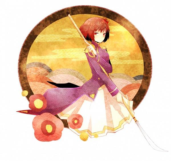 Tags: Anime, Keyu, Axis Powers: Hetalia, Japan (Female), Naginata, Fanart, Player 2, Pixiv, Nyotalia