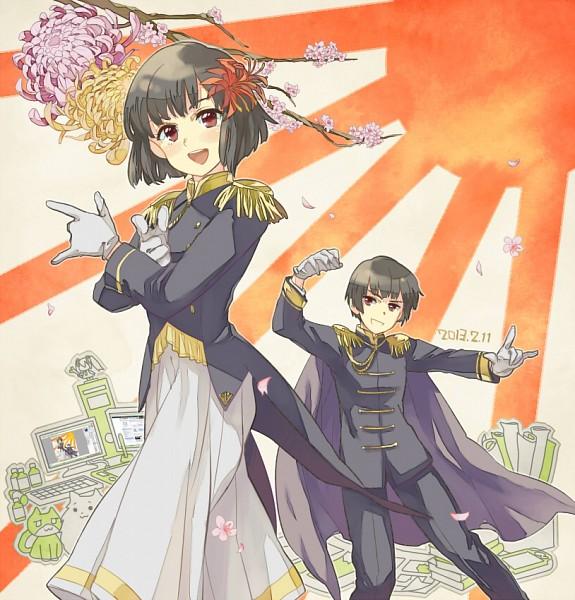 Tags: Anime, Axis Powers: Hetalia, Pochi-kun, Japan, Japan (Female), Bishoujo Senshi Sailor Moon (Parody), Chrysanthemum, Rising Sun Motif, Nyotalia, Fanart, Player 2