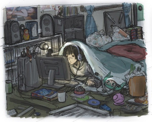Tags: Anime, Pixiv Id 60590, Axis Powers: Hetalia, VOCALOID, Hatsune Miku, Japan, Trash, CD (Object), Otaku Room, Futon, Otaku, Pixiv, Fanart