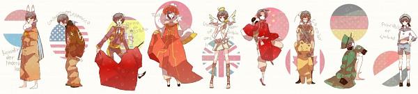 Tags: Anime, Mam233, Axis Powers: Hetalia, Japan, Kumajirou, Germany (Cosplay), Netherlands (Cosplay), Sealand (Cosplay), Canada (Cosplay), Spain (Cosplay), Flag Background, United Kingdom (Cosplay), United States (Cosplay)