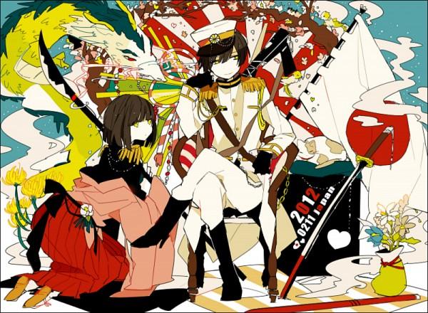 Tags: Anime, Akina422, Axis Powers: Hetalia, Japan, Japan (Female), Chinese Dragon, Rising Sun Motif, PNG Conversion, Pixiv, Nyotalia, Fanart, Player 2