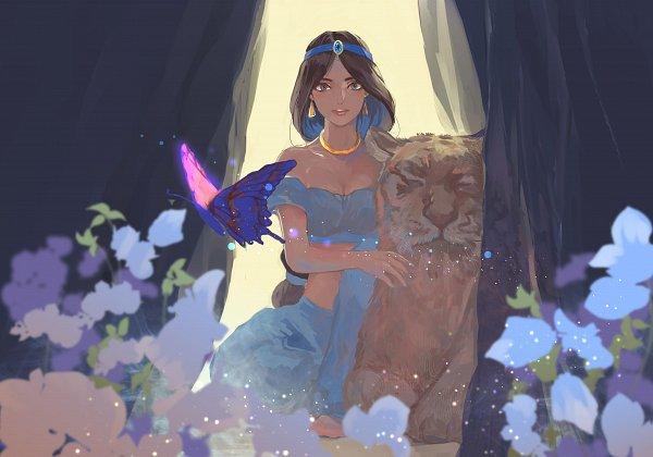 Tags: Anime, Pixiv Id 41382121, Aladdin, Jasmine (Aladdin), Rajah (Aladdin), Blue Gem, Fanart, Fanart From Pixiv, Pixiv