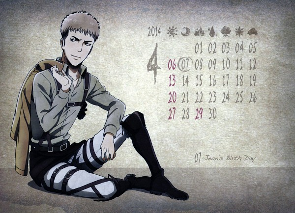 Tags: Anime, WIT STUDIO, Attack on Titan, Shingeki no Kyojin School Calendar, Jean Kirschstein, Calendar 2014, Calendar (Source), Official Art, Scan