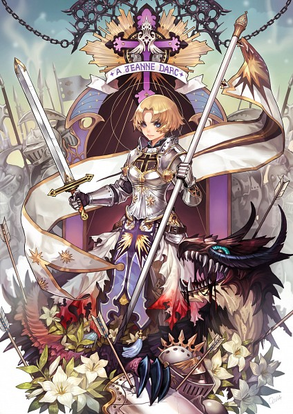 Tags: Anime, Olivia //, Jeanne d'Arc, War, Soldier, Knight, Banner, Pixiv, Mobile Wallpaper