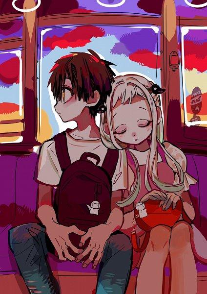 Tags: Anime, Aida Iro, Jibaku Shounen Hanako-kun, Hanako-kun, Yashiro Nene, Head on Shoulder, Sign Board, Train Interior, Official Art, Mobile Wallpaper, Toilet-bound Hanako-kun