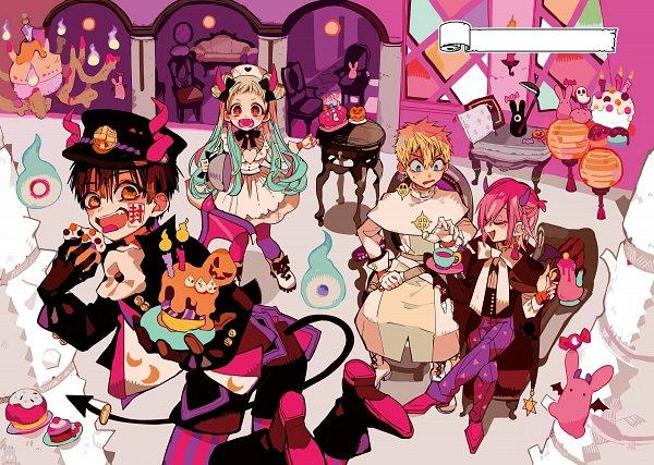 Tags: Anime, Aida Iro, Jibaku Shounen Hanako-kun, Mokke, Hanako-kun, Mitsuba Sousuke, Yashiro Nene, Minamoto Kou, Devil Costume, Bonbon, Clergy, Candy Wrappers, Vampire Costume, Toilet-bound Hanako-kun