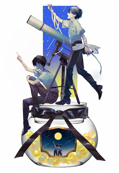 Tags: Anime, Pixiv Id 10144488, Jibaku Shounen Hanako-kun, Hanako-kun, Yugi Tsukasa, Bandaged Head, Pot (Jar), Telescope, Bandaged Cheek, Fanart, Fanart From Pixiv, Pixiv, Toilet-bound Hanako-kun
