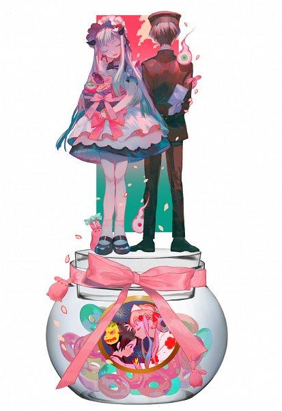Tags: Anime, Pixiv Id 10144488, Jibaku Shounen Hanako-kun, Yashiro Nene, Mokke, Hanako-kun, Bonbon, Pot (Jar), Fanart From Pixiv, Pixiv, Fanart, Toilet-bound Hanako-kun