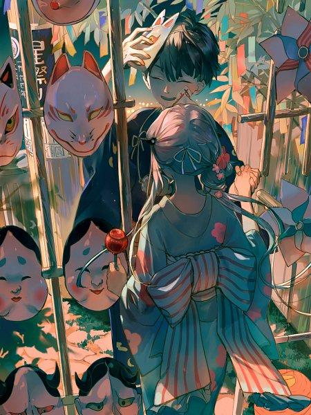 Tags: Anime, Pixiv Id 10144488, Jibaku Shounen Hanako-kun, Yashiro Nene, Hanako-kun, Candy Apple, Pinwheel, Origami, Festival, Fanart, Pixiv, Lofter, Fanart From Pixiv, Toilet-bound Hanako-kun