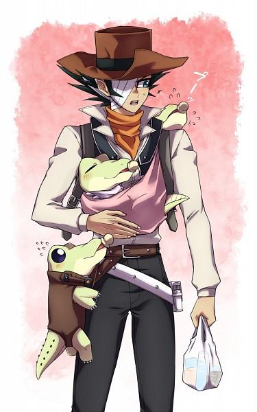 Tags: Anime, Pixiv Id 3812756, Yu-Gi-Oh! GX, Yu-Gi-Oh!, Jim Crocodile Cook, Plastic Bag, Crocodile (Animal), Brown Headwear, Orange Neckwear, Babysitter, Cowboy, Brown Hat, Fanart