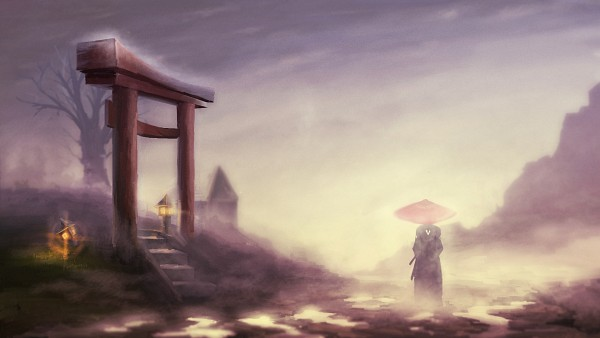 Tags: Anime, Pixiv Id 2964314, Samurai Champloo, Jin (Samurai Champloo), Dusk, Shrine, Fog, Wallpaper, Facebook Cover, Pixiv, Original, HD Wallpaper