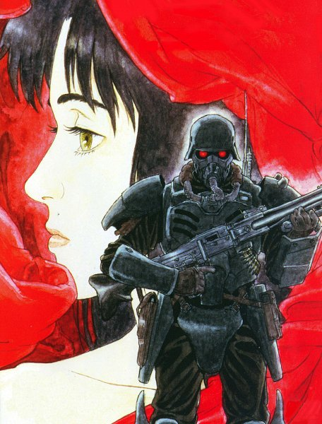 Tags: Anime, Jin Roh, Fuse Kazuki, Amemiya Kei, Army, Soldier, Machine Gun, Official Art