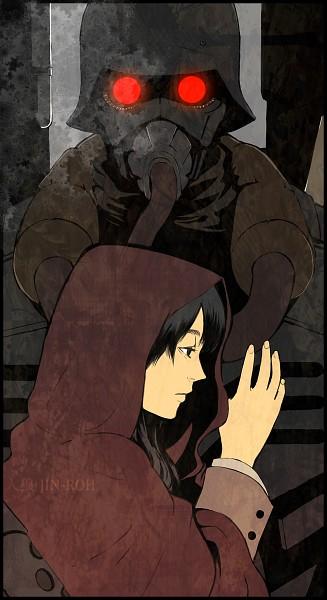 Tags: Anime, Red Riding Hood, Jin Roh, Amemiya Kei, Fuse Kazuki, Army, Soldier, Pixiv, Fanart, Mobile Wallpaper