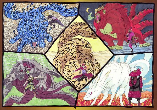 Tags: Anime, Kishimoto Masashi, NARUTO Illustrations, NARUTO, Gobi, Shukaku, Yonbi, Sanbi no Kyodaigame, Nibi no Bakeneko, Monkey, Dolphin, Turtle, Raccoon