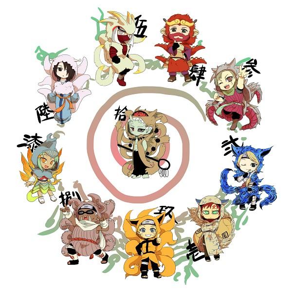 Tags: Anime, Pixiv Id 8723475, NARUTO, Uzumaki Naruto, Utakata (NARUTO), Uchiha Obito, Han (NARUTO), Roushi, Nii Yugito, Yagura, Gaara, Fuu (NARUTO), Killer Bee