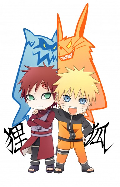 Tags: Anime, Pixiv Id 1045921, NARUTO, Gaara, Uzumaki Naruto, Shukaku, Kyuubi (NARUTO), Mobile Wallpaper, Tailed Beasts, Jinchuuriki