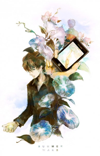 Tags: Anime, Sin Hitonatsu, Summer Wars, Jinnouchi Wabisuke, iPod, Morning Glory, Pixiv, Mobile Wallpaper, Fanart