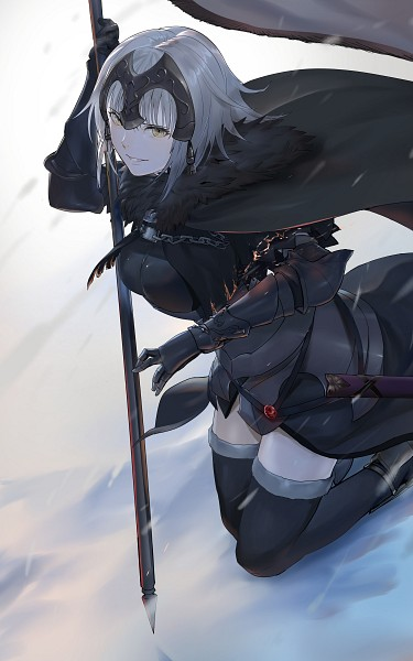 Tags: Anime, Pixiv Id 257244, Fate/Grand Order, Joan of Arc (Fate/Apocrypha), Joan Alter, La Grondement Du Haine, Holding Flag, Pixiv, Fanart, Mobile Wallpaper, Fanart From Pixiv