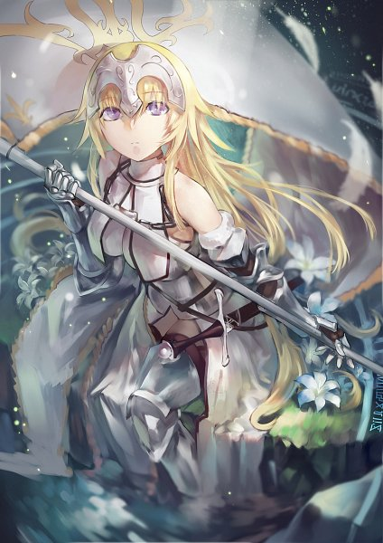 Tags: Anime, Azomo, Fate/Apocrypha, Joan of Arc (Fate/Apocrypha), Holding Flag, Fanart From Pixiv, Pixiv, Fanart