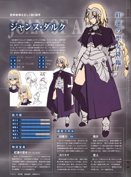 Tags: Anime, Takeuchi Takashi, TYPE-MOON, Fate/Apocrypha, Fate/Complete Material IV, Joan of Arc (Fate/Apocrypha), Character Sheet, Sketch, Official Art
