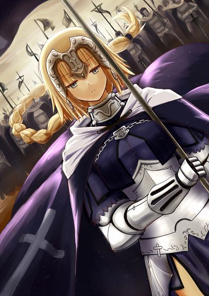 Tags: Anime, Kotera Ryou, TYPE-MOON, Fate/Apocrypha, Joan of Arc (Fate/Apocrypha), Army, Fanart, PNG Conversion, Mobile Wallpaper, Pixiv