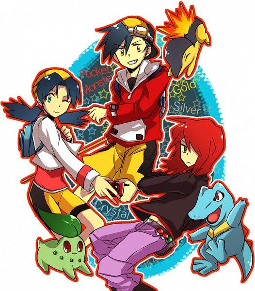 Tags: Anime, Pixiv Id 100022, Pokémon SPECIAL, Pokémon, Totodile, Crystal (Pokémon SPECIAL), Cyndaquil, Silver (Pokémon SPECIAL), Chikorita, Gold (Pokémon SPECIAL), Fanart From Pixiv, Fanart, Pixiv
