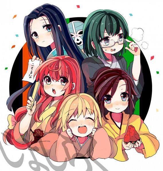 Tags: Anime, Senmen Kinuko, Joshiraku, Bouhatei Tetora, Anrakutei Kukuru, Haroukitei Kigurumi, Mask (Joshiraku), Buratei Marii, Kuurubiyuutei Gankyou