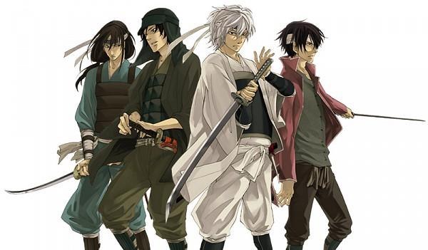 Tags: Anime, Gintama, Sakata Gintoki, Shiroyasha, Sakamoto Tatsuma, Katsura Kotaro, Takasugi Shinsuke, Joui War, Artist Request, Joui