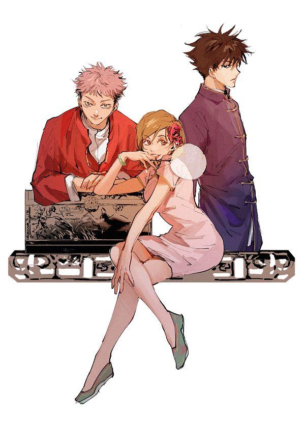 Tags: Anime, Pixiv Id 3941355, Jujutsu Kaisen, Fushiguro Megumi, Itadori Yuuji, Kugisaki Nobara, Pixiv, Fanart, Twitter, Fanart From Pixiv